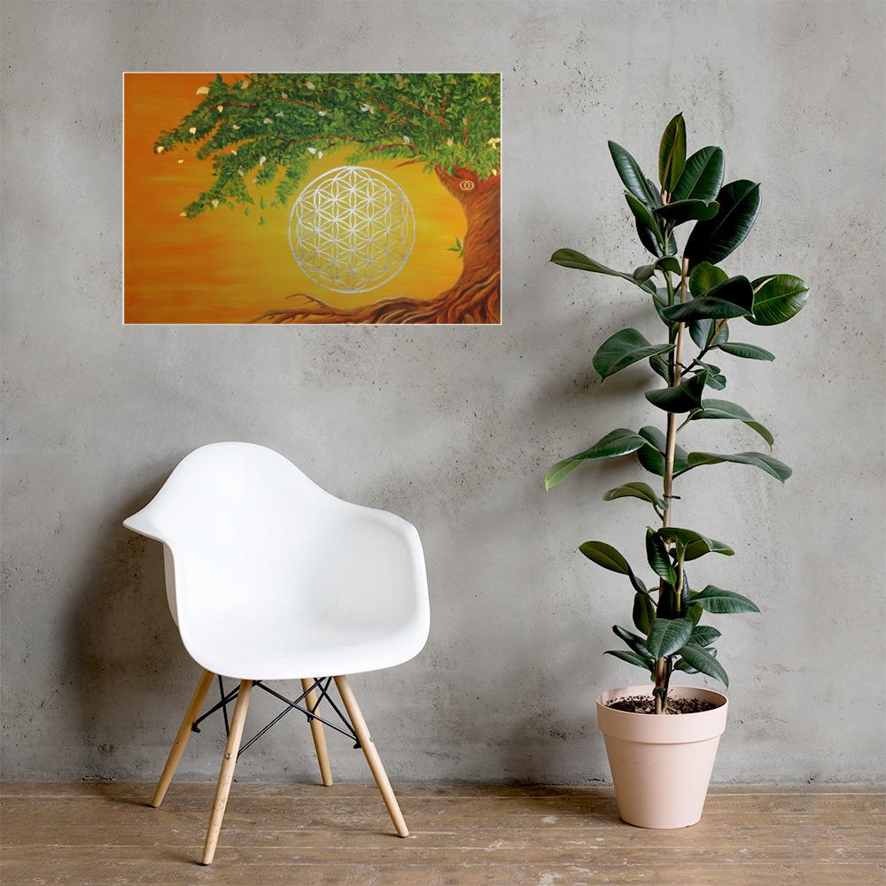 Poster Blume des Lebens gold